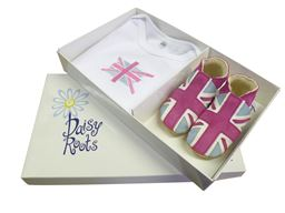 Suede Pink Union Jack Gift Set 0-6 Mths
