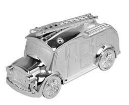 Silver Plate Fire Engine Money Box