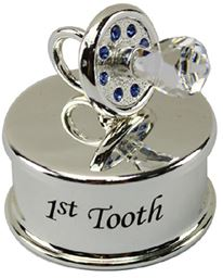 Silver Plate Jewel Baby 1st Tooth Blue