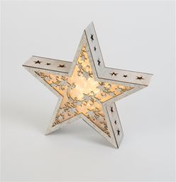 White Washed Star LED Plaque