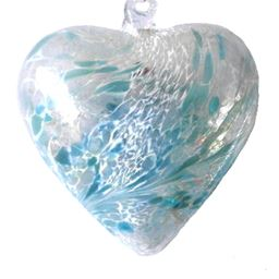 Sienna Glass Friendship Heart 8cm Pastel Blue