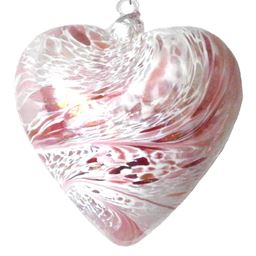 Sienna Glass Friendship Heart 8cm Pastel Pink