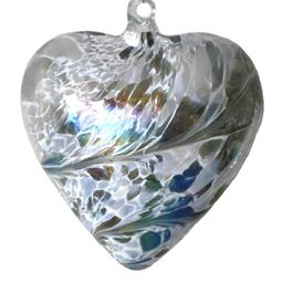 Sienna Glass Friendship Heart 8cm Pastel Silver