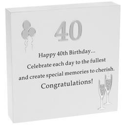 Reflections Plaque 40th Birthday