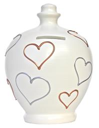 White with Silver and Gold Hearts Pot