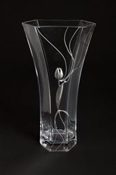 Hexagonal Vase with Silver Tulip Design