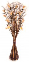 White Lily with Brown & Cream Wave Floor Standing Vase