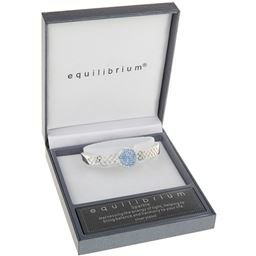 Silver Plated Blue Diamante Disk Bangle