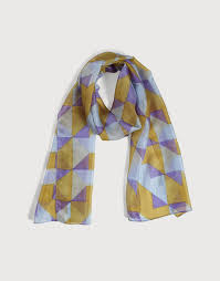 Louvre Mustard and Purple Silk Scarf