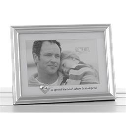 Silver Heart Message Frame Dad 6x4