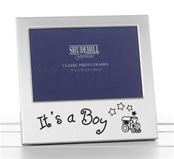 Silver Plate Satin Finish Frame - Its a Boy