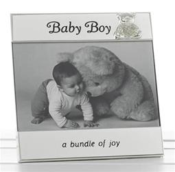 Silver Plate Message Photo Frame - Baby Boy