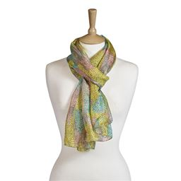 Camo Yellow Mint Silk Scarf