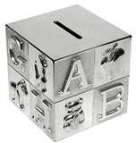 MB00000-13 De Luxe Silver Plate ABC Cube Money Box