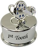 LP00000-05 Silver Plate Jewel Baby 1st Tooth Blue