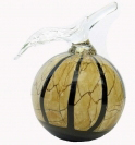 A00000-19 Light Brown Marble Effect with Black Thread Apple Paperweight