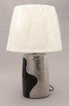 A00000-12 Ceramic Oval Shaped Lamp in Silver and Black with Shade