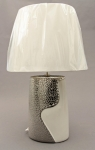 A00000-13 Silver and White Oval Shaped Lamp with Shade 52cm