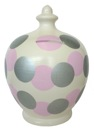 T00000-46 Cream with Silver and Pink Spots