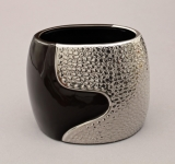A00000-22 Ceramic Oval Vase in Silver and Black