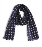 Q00000-44 Circles Navy Silk Scarf